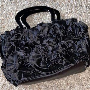 satin rose evening bag